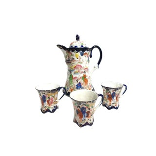 Antique 1910's Elegant Beautifully Hand Made and Painted Gilded Porcelain Chinoiserie Coffee / Tea Set With Kettle / Pitcher and Cups - Set of Four For Sale