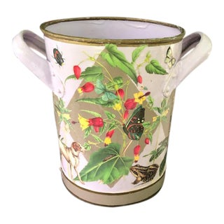 Flora and Fauna Antique French Metal Bucket For Sale