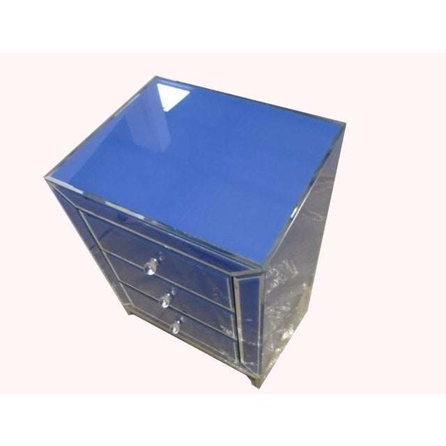 Contemporary Blue Bedside End Table - Image 7 of 7