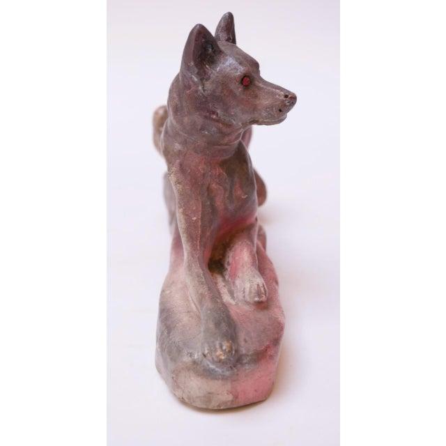 American Vintage American Painted Chalkware German Shepherd For Sale - Image 3 of 13