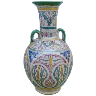 Antique Moroccan Ceramic Vase For Sale