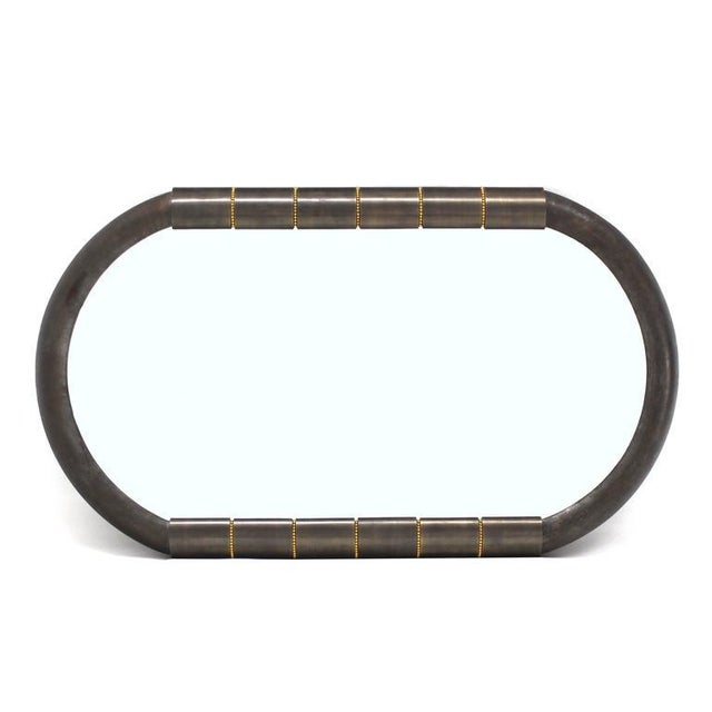 Heavy Bronze Oval Racetrack Shape Mid Century Modern Mirror For Sale In New York - Image 6 of 9