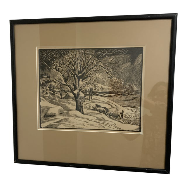 "Woodcut by Eloise Howard ""Opening the Road"" 1936 For Sale"