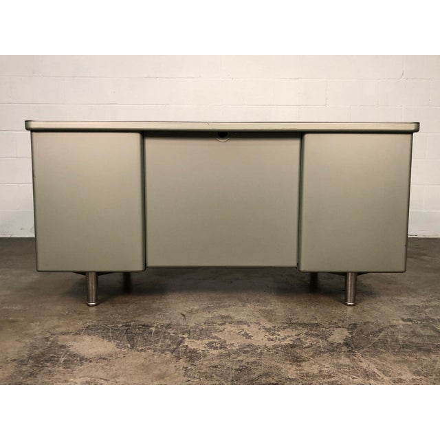 Metal Steelcase Mid-Century Industrial Steel Tanker Desk For Sale - Image 7 of 13