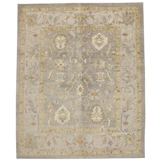 Contemporary Turkish Oushak Area Rug - 11′4″ × 13′10″ For Sale