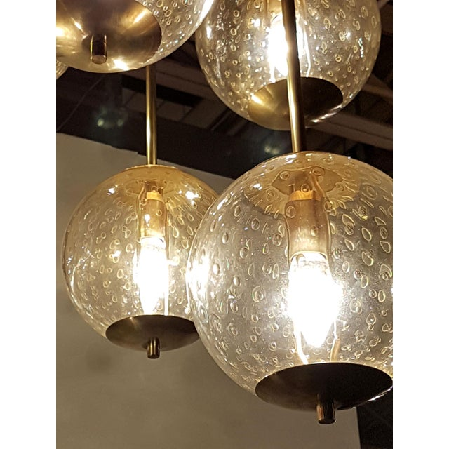Venini Mid-century modern 6-clear glass globes brass flush mount light, attr to Venini For Sale - Image 4 of 6