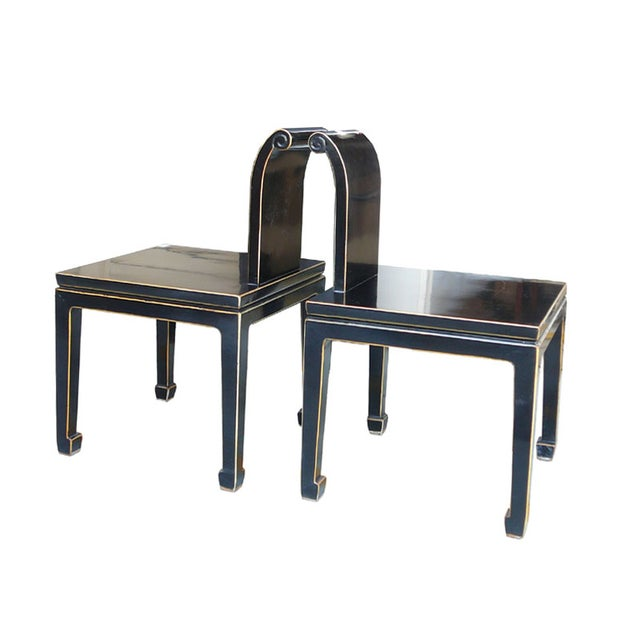 Black Asian Chinese Lacquer Chairs - Pair - Image 4 of 5