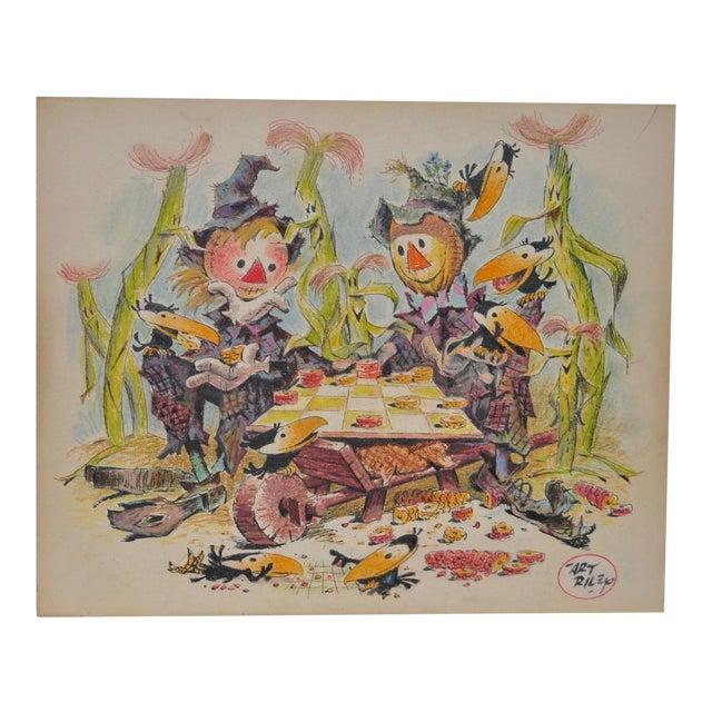 "Art Riley Original Cartoon ""Checkers"" Painting c.1960s For Sale"
