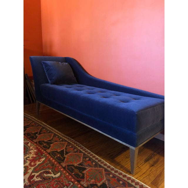 Hollywood Regency Koket Style Velvet Chaise For Sale - Image 3 of 6