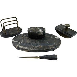 French Marble Desk Set - Set of 4 For Sale