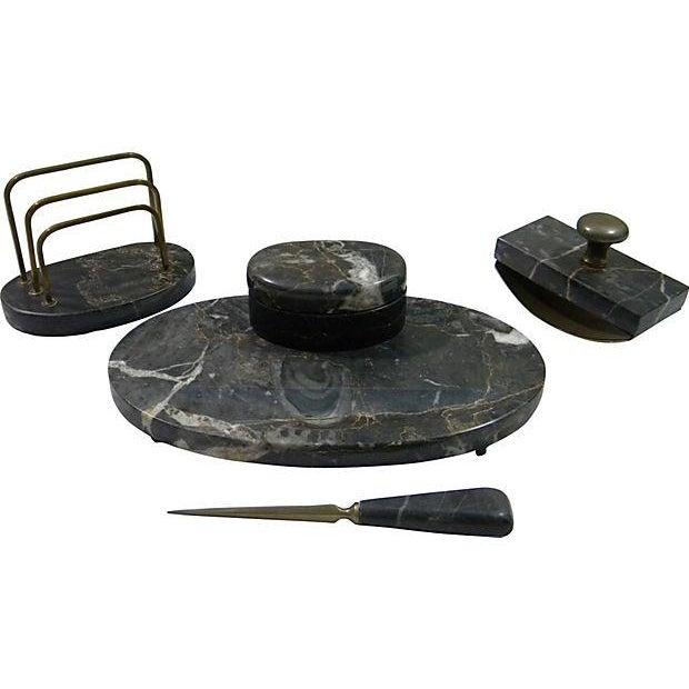 French Marble Desk Set - Set of 4 - Image 1 of 3