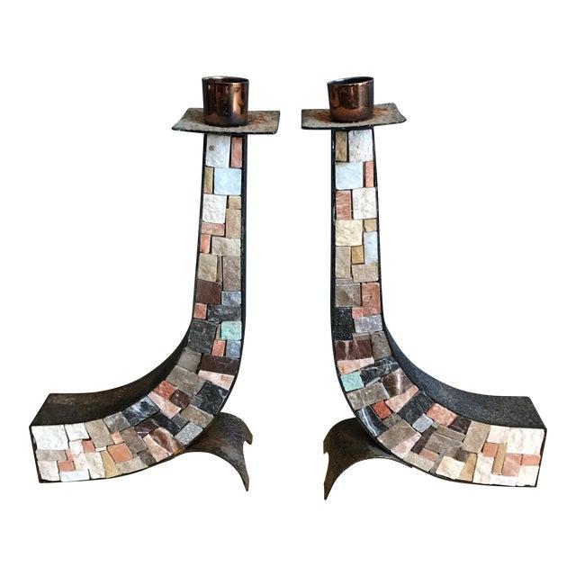 Stone & Copper Mosaic Shabbat Candlesticks - A Pair - Image 1 of 6