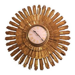 Mid Century Syroco Gold Sunburst Wall Clock