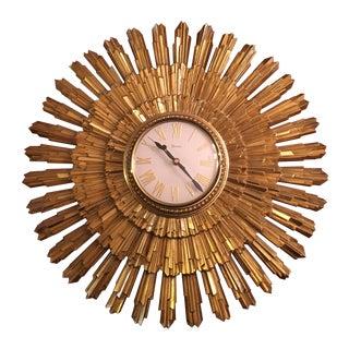 Mid Century Syroco Gold Sunburst Wall Clock For Sale