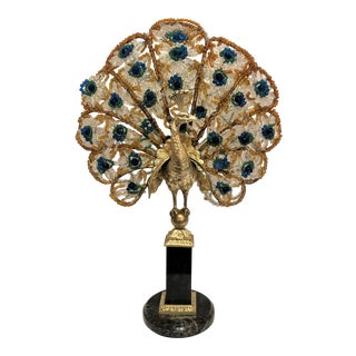 Antique Peacock Lamp With Bronze Mounts on Marble, Circa 1910. For Sale