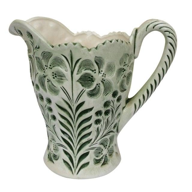 Green Botanical Artisan Pottery Pitcher - Image 1 of 11