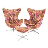 Image of 1950s Arne Jacobsen for Fritz Hansen Egg Chairs and Ottoman - 3 Pieces For Sale