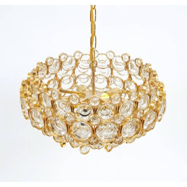 1960s Large Gold Palwa Brass and Glass Chandelier Lamp, Germany 1960 For Sale - Image 5 of 9