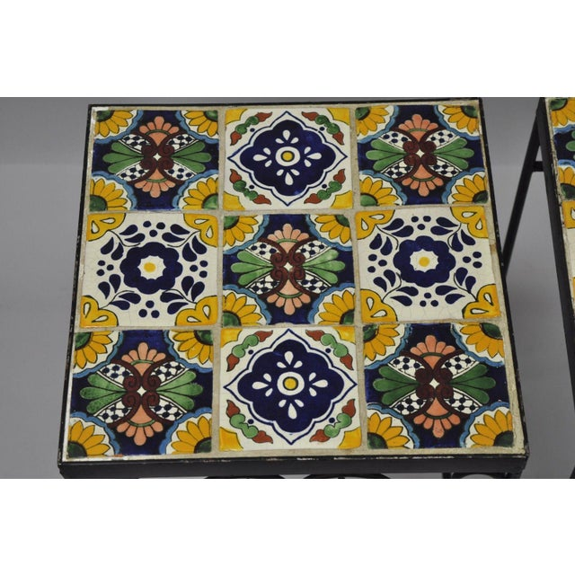 California Style 9 Tile Yellow Blue Green Wrought Iron Side Tables - a Pair - Image 3 of 11