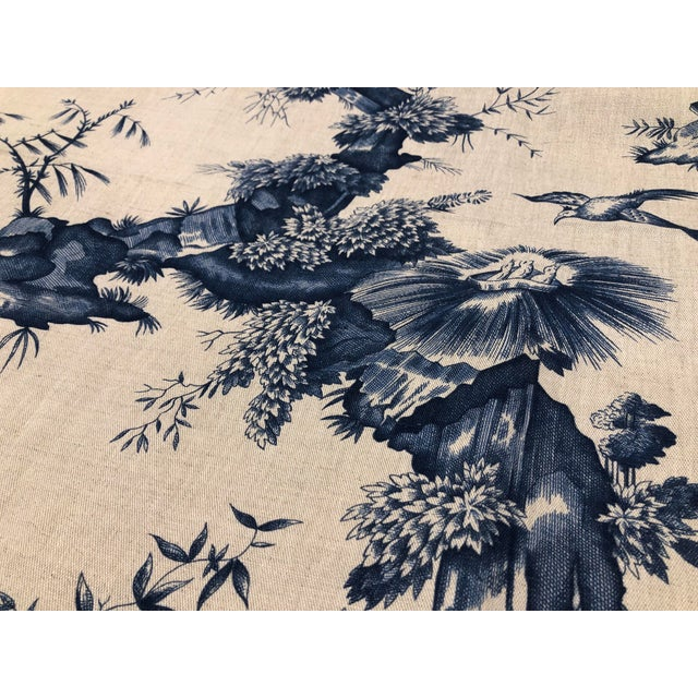 Asian Schumacher Chinoiserie Linen Fabrics - A Pair For Sale - Image 3 of 7