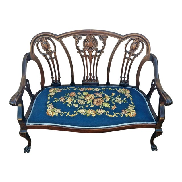 20th Century Chippendale Style Carved Mahogany Double Settee Bench For Sale