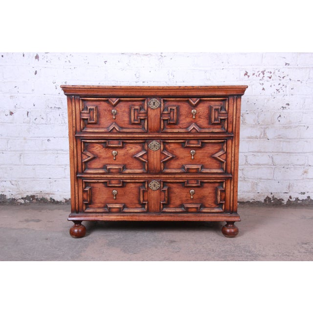 Antique Carved Oak Three-Drawer Bachelor Chest For Sale - Image 12 of 12