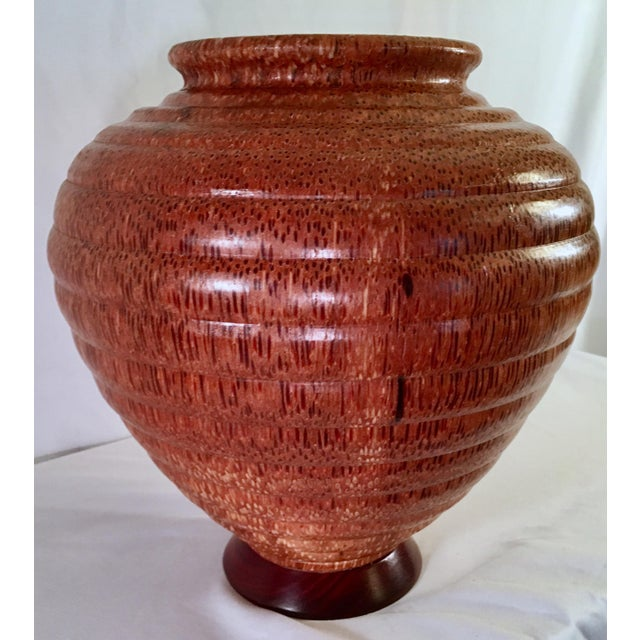 1991 Boho Chic Large Artisan Turned Bloodwood Palm Beehive Vase by John Penrod (Signed) For Sale - Image 9 of 13