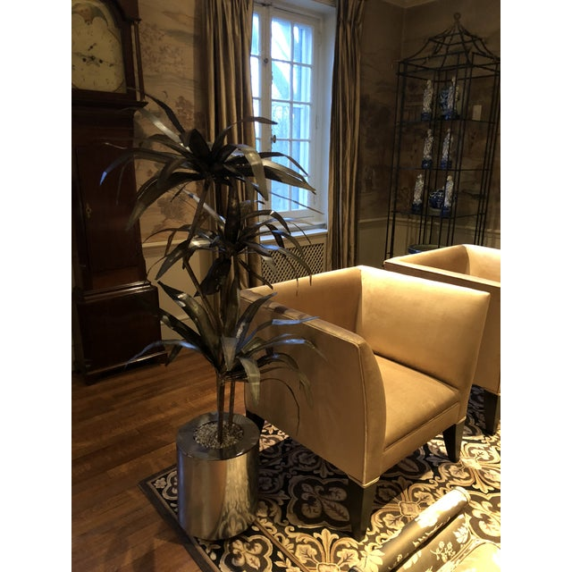 Mid-Century Brutalist Steel Cut Potted Palm Tree For Sale - Image 10 of 12