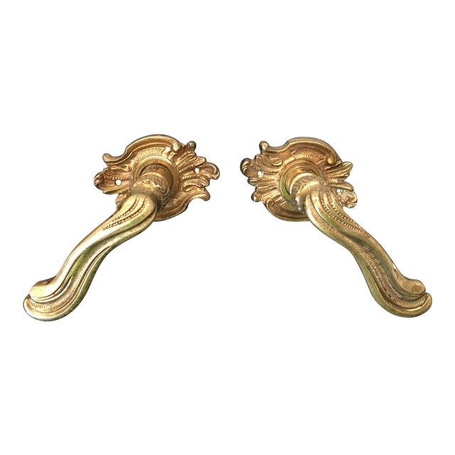 Vintage French Louis XV Style Brass Lever Door Handles - a Pair - Image 1 of 6