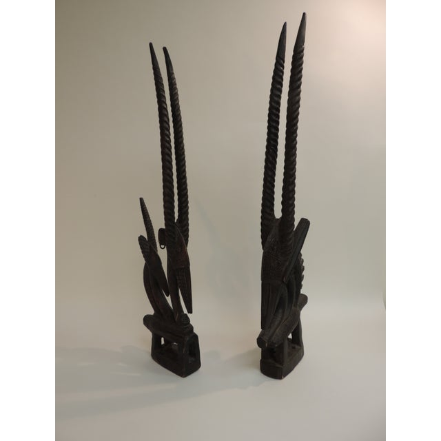 "African ""Chiwara Head Dress Carved Sculptures - a Pair - Image 3 of 6"
