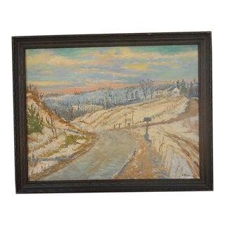 Original Signed Vintage Impressionist Oil/Board-Listed American Artist- Landscape at Sunset-Framed For Sale