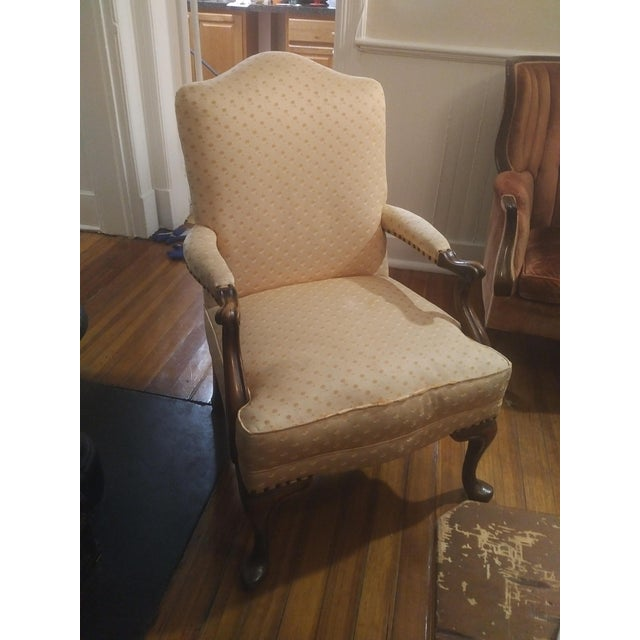 1940s 1940s Americana Baker Furniture Light Pink Wingback Armchair For Sale - Image 5 of 12