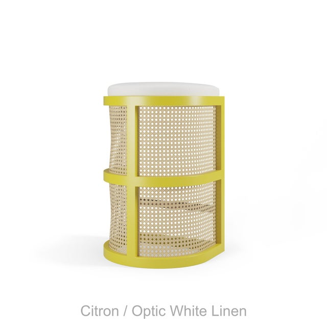 Not Yet Made - Made To Order Isabella Bar Stool - Citron, Optic White Linen For Sale - Image 5 of 5