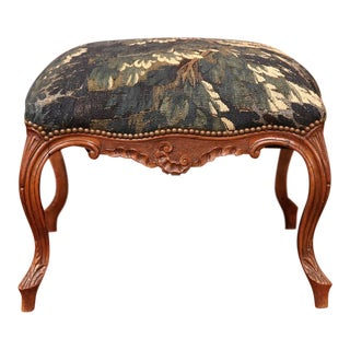 18th Century French Louis XV Walnut Square Stool With Aubusson Tapestry For Sale