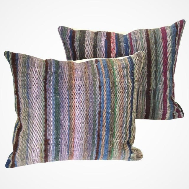 Fantastic Amish rag rug square pillows in great colors. The rag rug is from Lancaster County, PA in the Amish county. Sold...