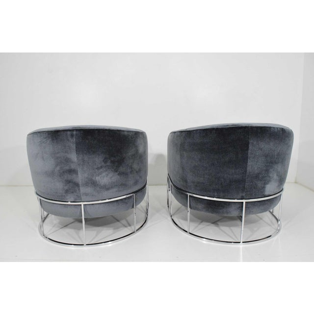 Milo Baughman Milo Baughman Gray Velvet Club Chairs - a Pair For Sale - Image 4 of 8