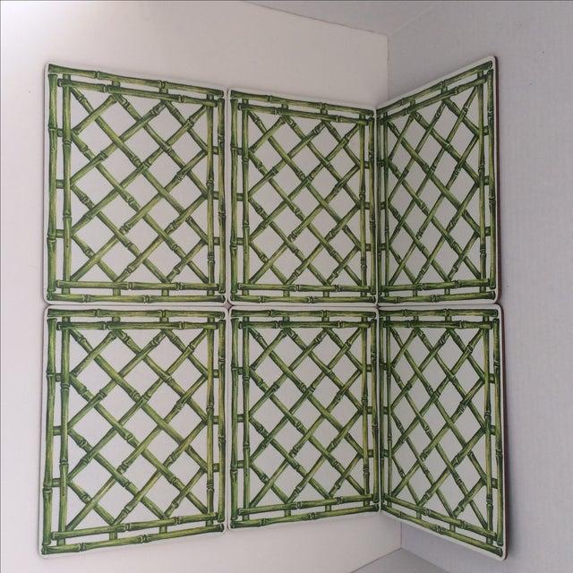 English Melamine Bamboo Lattice Motif Trivets - Image 6 of 6