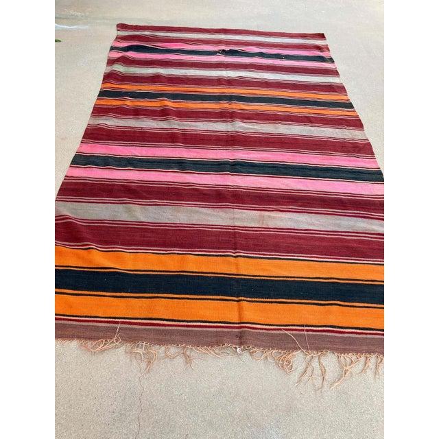 Moroccan Vintage Flat-Weave Stripe Kilim Rug For Sale - Image 9 of 13