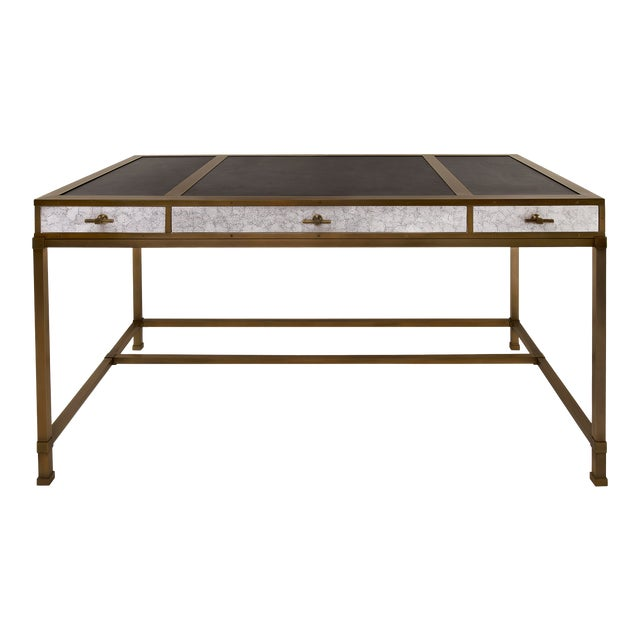 Steven Gambrel Collection Gambrel Desk in Eggshell / Burnished Brass For Sale