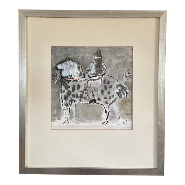 """1960s """"Horse and Rider"""" Modernist Figurative Gouache Painting by Birney Quick, Framed For Sale"""