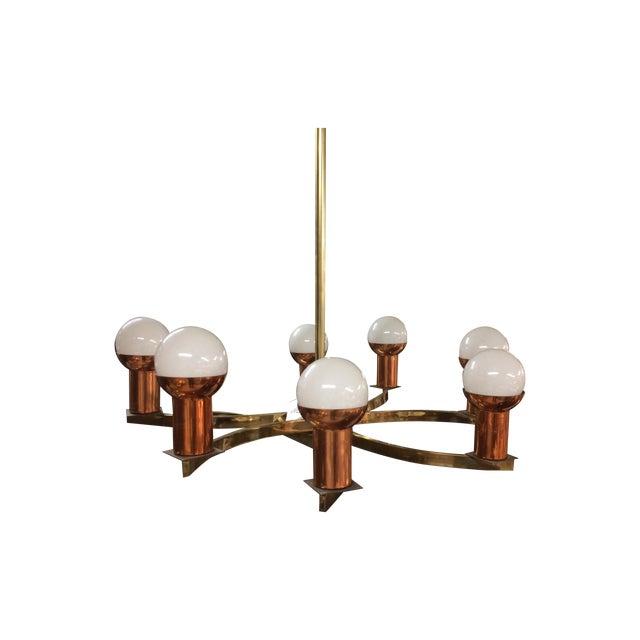 Modernist Brass & Copper Rare Chandelier - Image 1 of 6