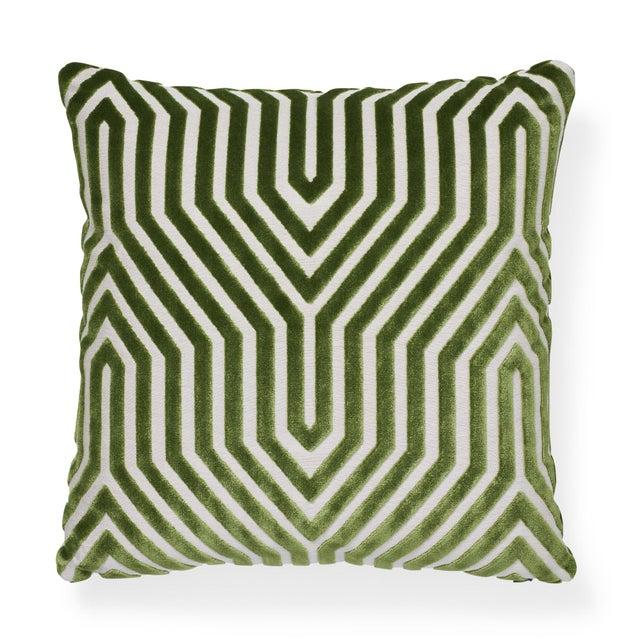 """Contemporary Schumacher Vanderbilt Velvet Lettuce Two-Sided Pillow - 18ʺW × 18""""H For Sale In New York - Image 6 of 6"""