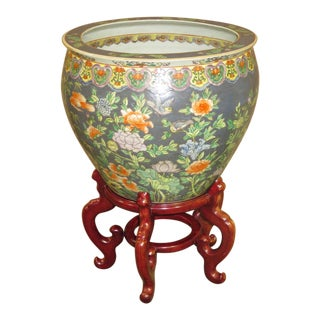 1980s Vintage Large Asian Fishbowl Planter For Sale