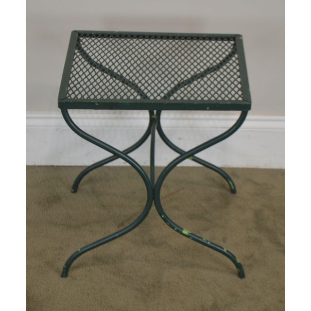Metal Salterini Vintage Expanded Metal Wrought Iron Pair X-Base Patio Side Tables For Sale - Image 7 of 13