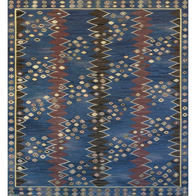 Mid-Century Handwoven Signed Swedish Wool Rug For Sale