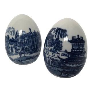 Blue & White Porcelain Eggs - A Pair