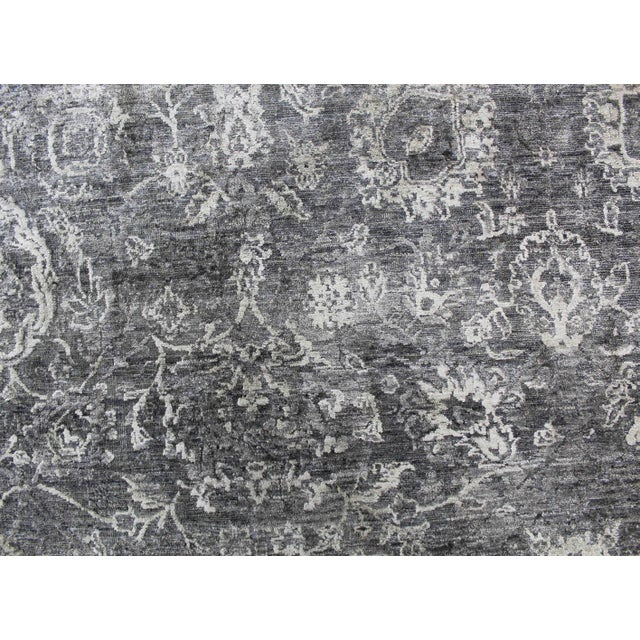 Bryant Gray/Charcoal hand knotted Wool/Viscose/Cotton Rug - 8'x10' For Sale In Los Angeles - Image 6 of 7