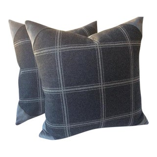 "Colefax and Fowler ""Lisle Check"" Wool Pillows - a Pair"