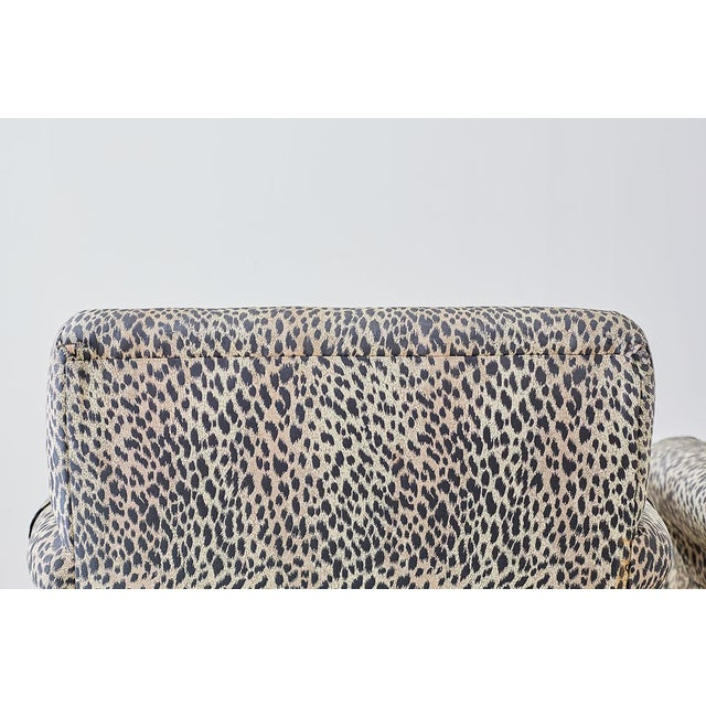 Fabric Set of Four Cheetah Leopard Upholstered Club Chairs For Sale - Image 7 of 13