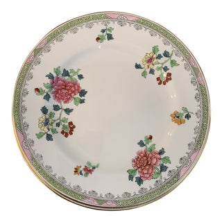 Antique Copeland Spode Pink and Green Peony Green Chinoiserie Porcelain Plates- Set of 8 For Sale